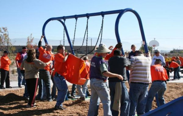 Setting up the Sawmill park swings