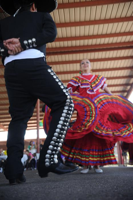 Two dancers performing in the community